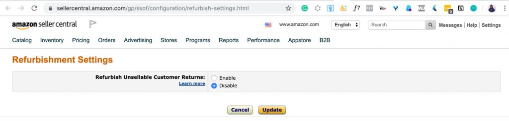 You can disable refurbishment options on Amazon