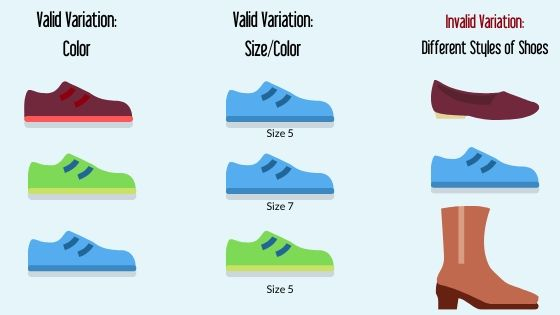 shoe size and color variation